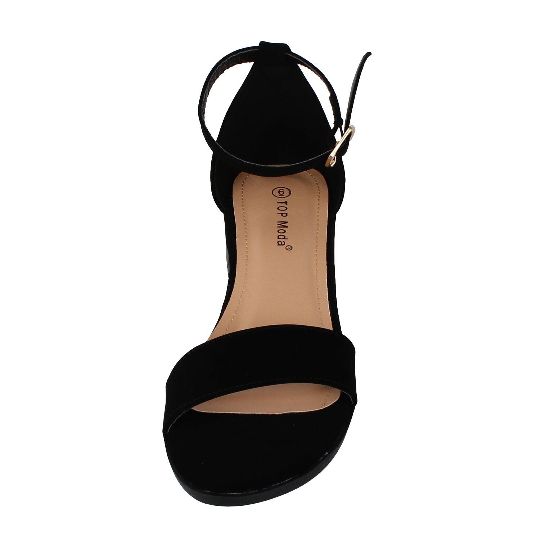 Top Moda Women's Ankle Strap Open Toe Heeled Sandal (6.5 B(M) US, Black) by Top Moda (Image #2)