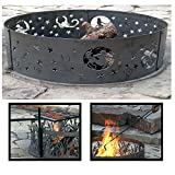 PD Metals Steel Campfire Fire Ring Zodiac Design - Unpainted - with Fire Poker and Cooking Grill - Extra Large 60 d x 12 h Plus Free eGuide