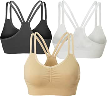 AKAMC Women's Removable Padded Strappy Sports Bra Yoga Tops Activewear for Women