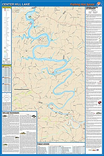 Amazon.com : Center Hill Lake Map : Sports & Outdoors on