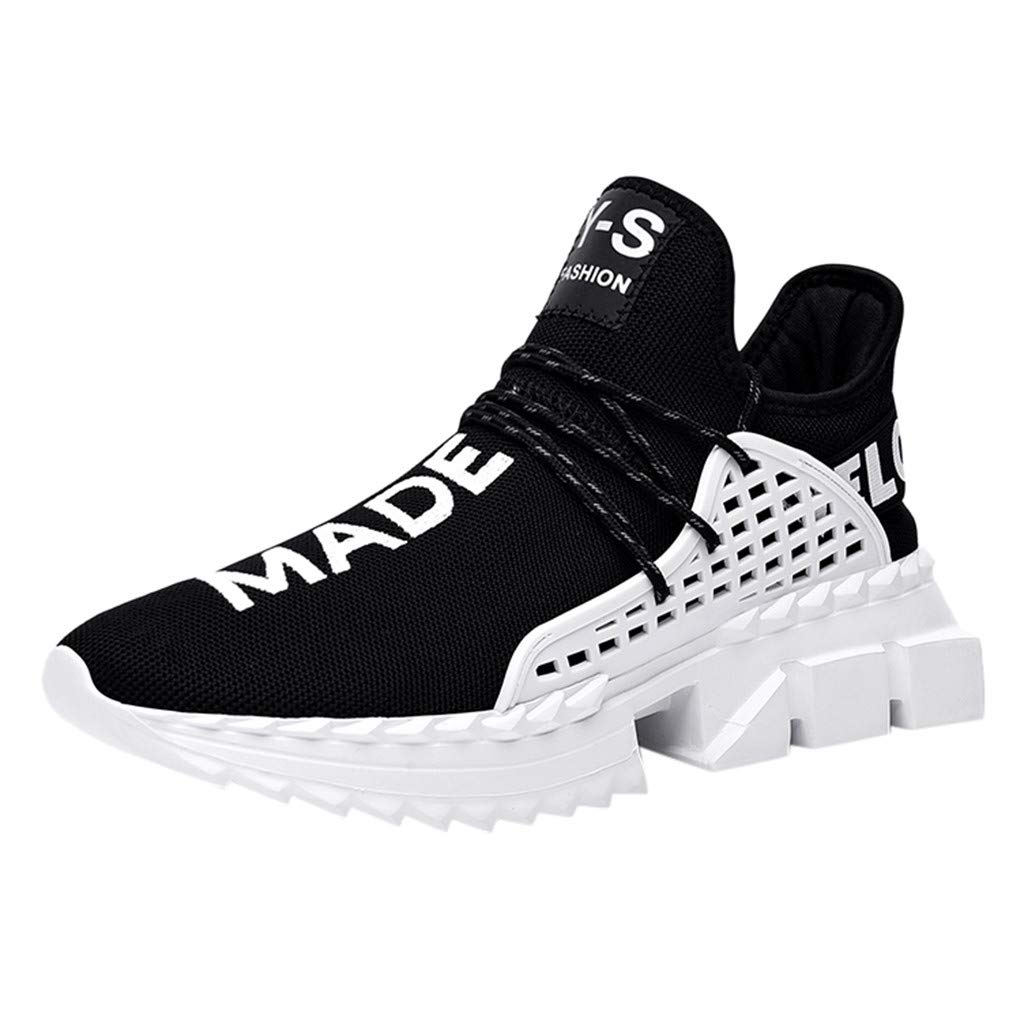 Men's Sneakers Casual Ultra Lightweight Breathable Athletic Running Walking Gym Training Sport Shoes (US:7, Black)