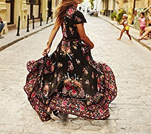 R.Vivimos Women Summer Vintage Floral Print Deep V Neck High Low Long Dresses