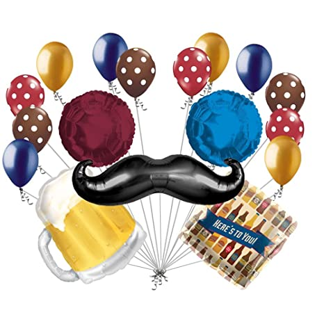 17 Pc Mustache Beer Heres To You Balloon Bouquet Happy Birthday Husband Dad