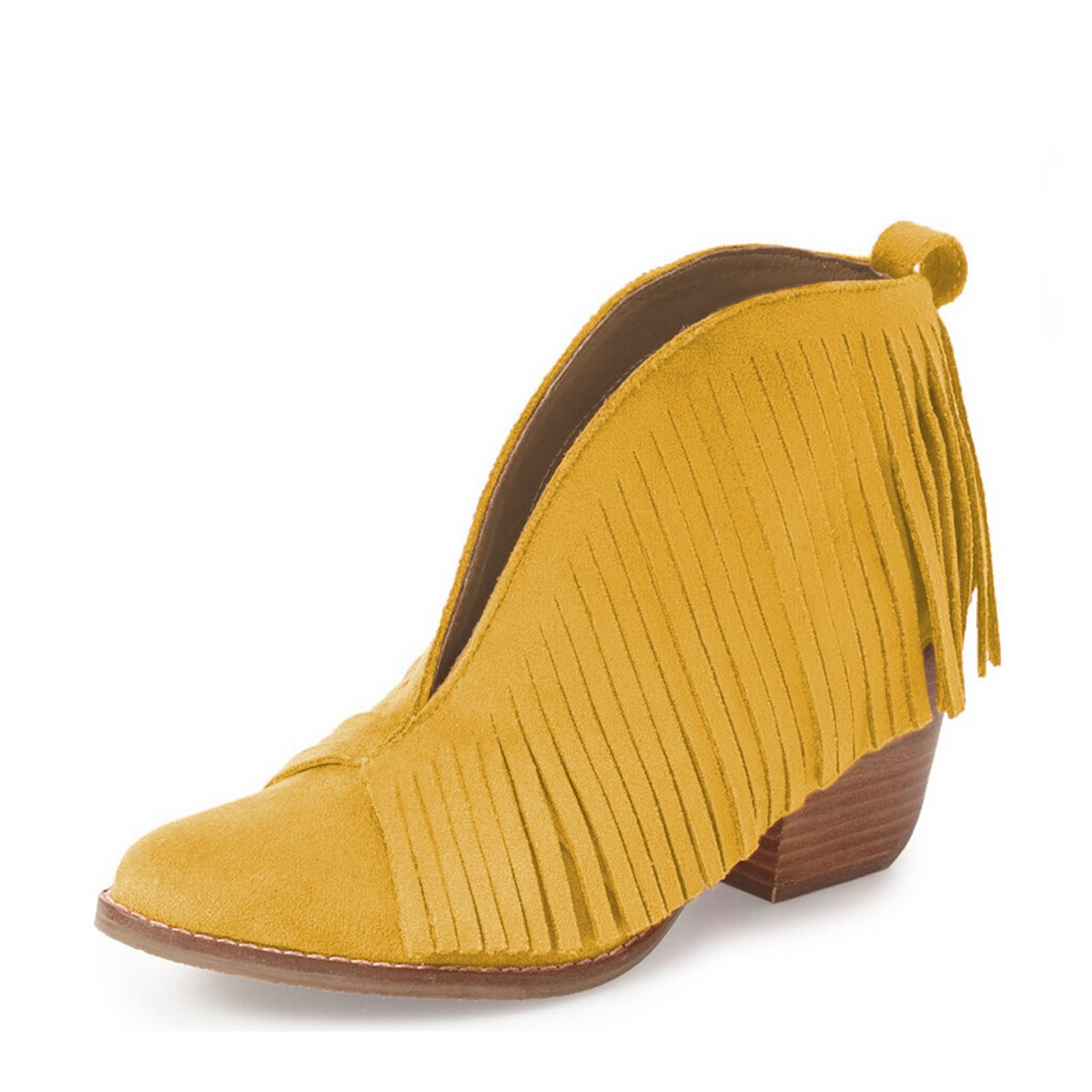 YDN Western Ankle High Boots with Tassels Round Toe Block Heel Suede Retro Booties B01KC29T1Q 8 B(M) US|Yellow
