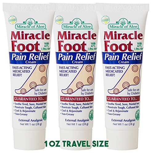 Miracle Foot Pain Relief Cream 1 oz - 3-Pack fast-acting, deep-penetrating, proven pain relief soothes sore feet.