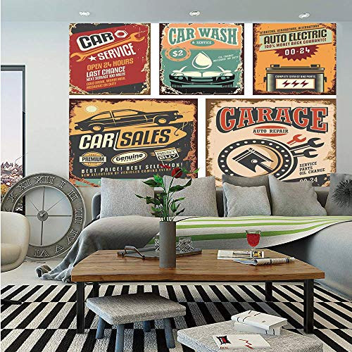 SoSung Vintage Decor Wall Mural,Nostalgic Art Auto Service Garage Funk Style Highway Logo Repair Road Grunge Decor,Self-Adhesive Large Wallpaper for Home Decor 55x78 inches,Multi