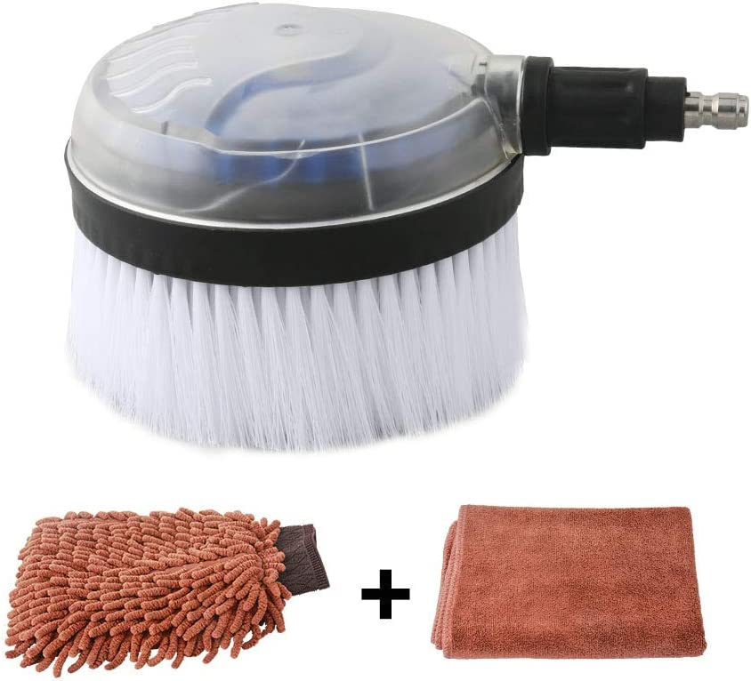 Sooprinse Deluxe Car Wash Rotary Brush Kit, 1/4 Inch Quick Connect High Pressure Washer Dip Wash Brush for Surface Cleaning Car/Glass/Wood Floor/Window Automatic Rotating Bursh Microfiber and Towel