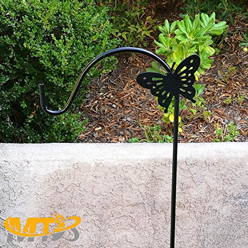MTB Shepherd Hook 64 inch with Butterfly,1/2 inch Diameter, Ideal for Solar Lights Lanterns,Bird Feeders,Mason Jars and Plant Hangers,Pack of 2 (Also Sold as Pack of 1 or 6. 48''Length Available)