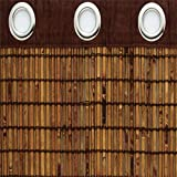 BrylaneHome Bamboo Grommet Valance, 60'' Wx12 L (Honey Oak Brown)