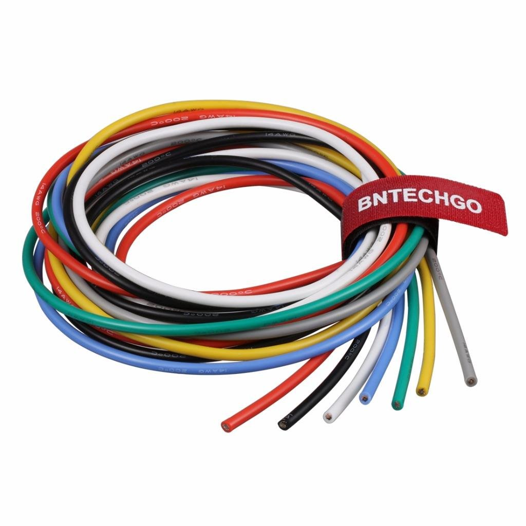 BNTECHGO 14 Gauge Silicone Wire Kit Ultra Flexible 7 Color High Resistant 600V 200 deg C Silicone Rubber Insulation 14 AWG Silicone Wire 400 Strands of Tinned Copper Wire Stranded Wire Battery Cable bntechgo.com