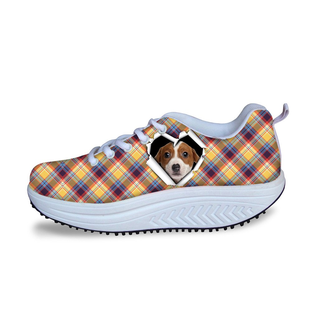 CHAQLIN Classic Lattice Women Platform Wedges Shoes Height-Increasing Animal Pattern Fitness Work Out Sneaker
