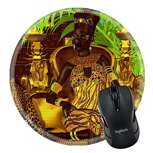 Price comparison product image MSD Mousepad Round Mouse Pad/Mat 43526568 Nubian Princess Seated on a gold chair with a at her feet