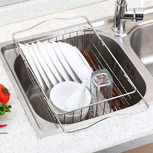 Okdeals Adjustable Over Sink Dish Drying Rack Stainless Stee