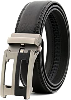 QHA Mens Automatic Leather Belt Buckle Ratchet Waist Q5082