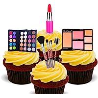 Decoraciones de tarta comestibles con diseño de maquillaje y cosméticos