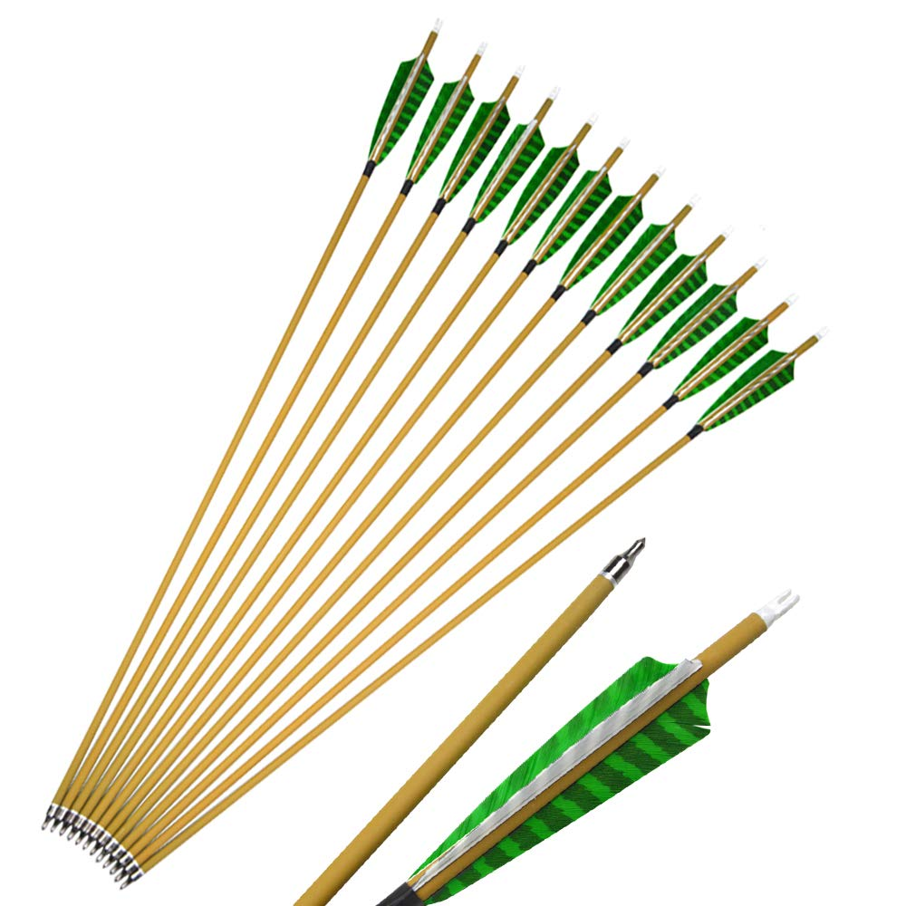 SHARROW 32 Inch 500 Spine Carbon Arrows with Turkey Feather for Archery Practice - 16 Pack