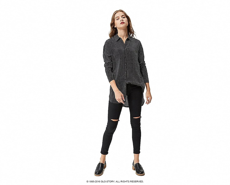 Women Polka Dot Printed Long Sleeve blouse casual shirts Loose cotton tops blusas WCS-3664 at Amazon Womens Clothing store: