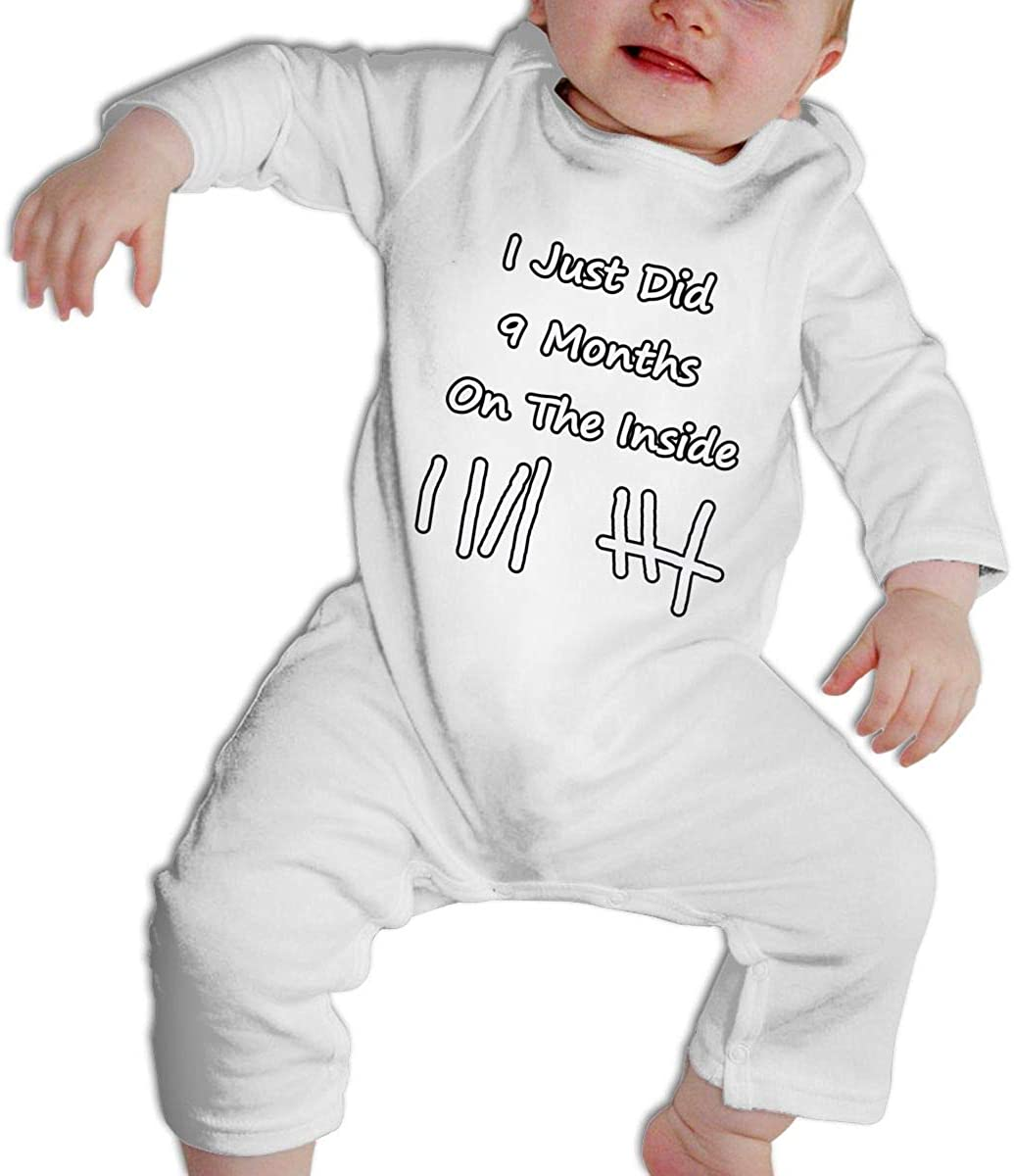 SDHEIJKY I Just Did 9 Months On The Inside Baby Girls Boys Long-Sleeve Bodysuits Onesies Comfy Cotton Infant Outfits