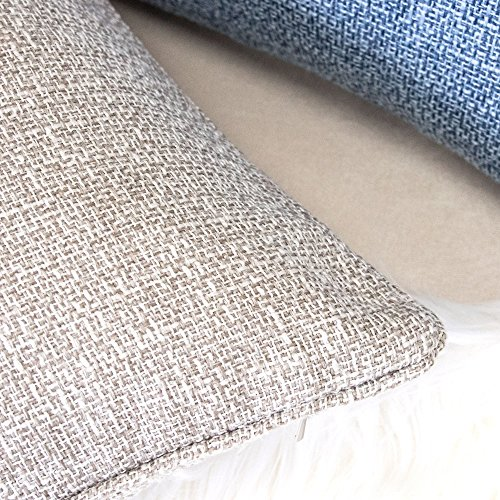 Homey Cozy Linen Textured Ecru Throw Pillow Cover,Linen Woven Series Blue Large Sofa Couch Decorative Pillow Case Western Home Decor 20x20, Cover Only