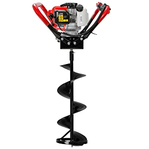 XtremepowerUS V-Type 55CC 2 Stroke Gas Ice Post Hole Digger W/10