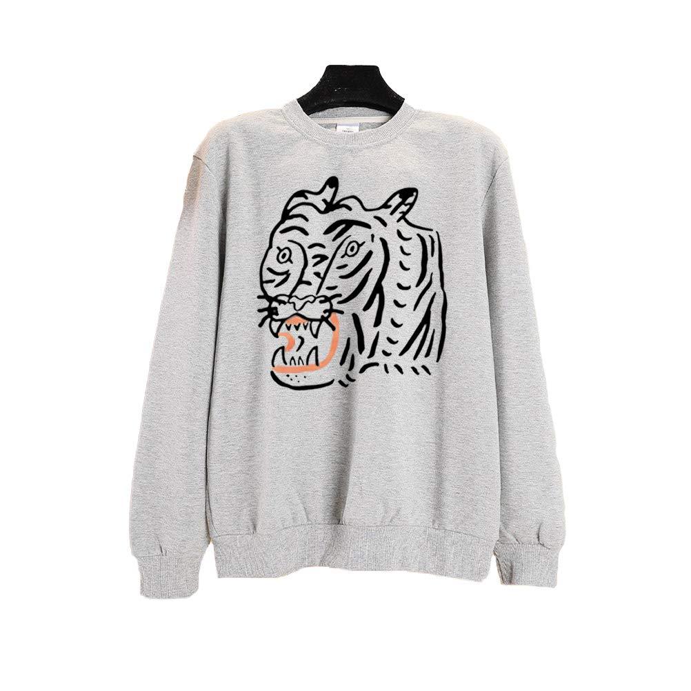 SuperCimi Women Casual Long Sleeve Cartoon Animal Graphic Print Sweatshirt Loose Jumpers Pullover