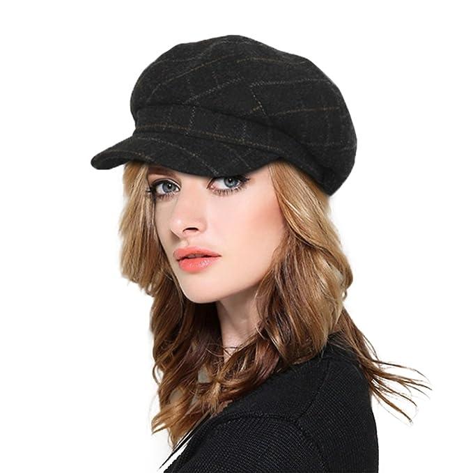 Plaid Newsboy Cap Womens Ladies Winter Paperboy Cap 6 Pieces Cute ... 637f71707b9