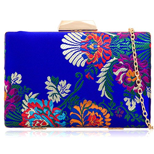 Hard London Bag Boxy Minaudiere Medium Compact Embroidered Clutch Xardi Party Women Evening Satin Wedding Blue Royal Floral Bridal Udv1qWxqFw