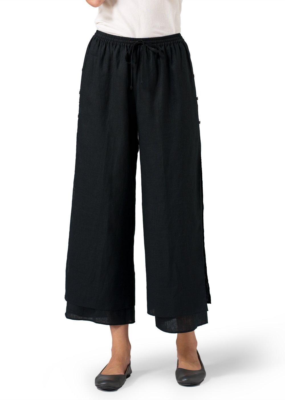 Linen Double-Layer Cropped Pants With Sea Shell Button-L-Black/Black
