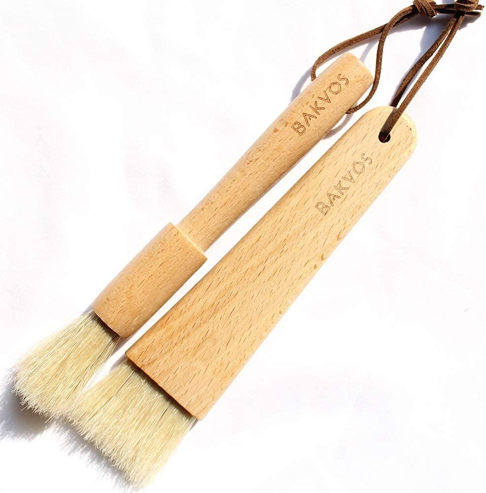 Pack Of 2 Natural Wood Pastry Brushes Glazing Baking Basting Cooking