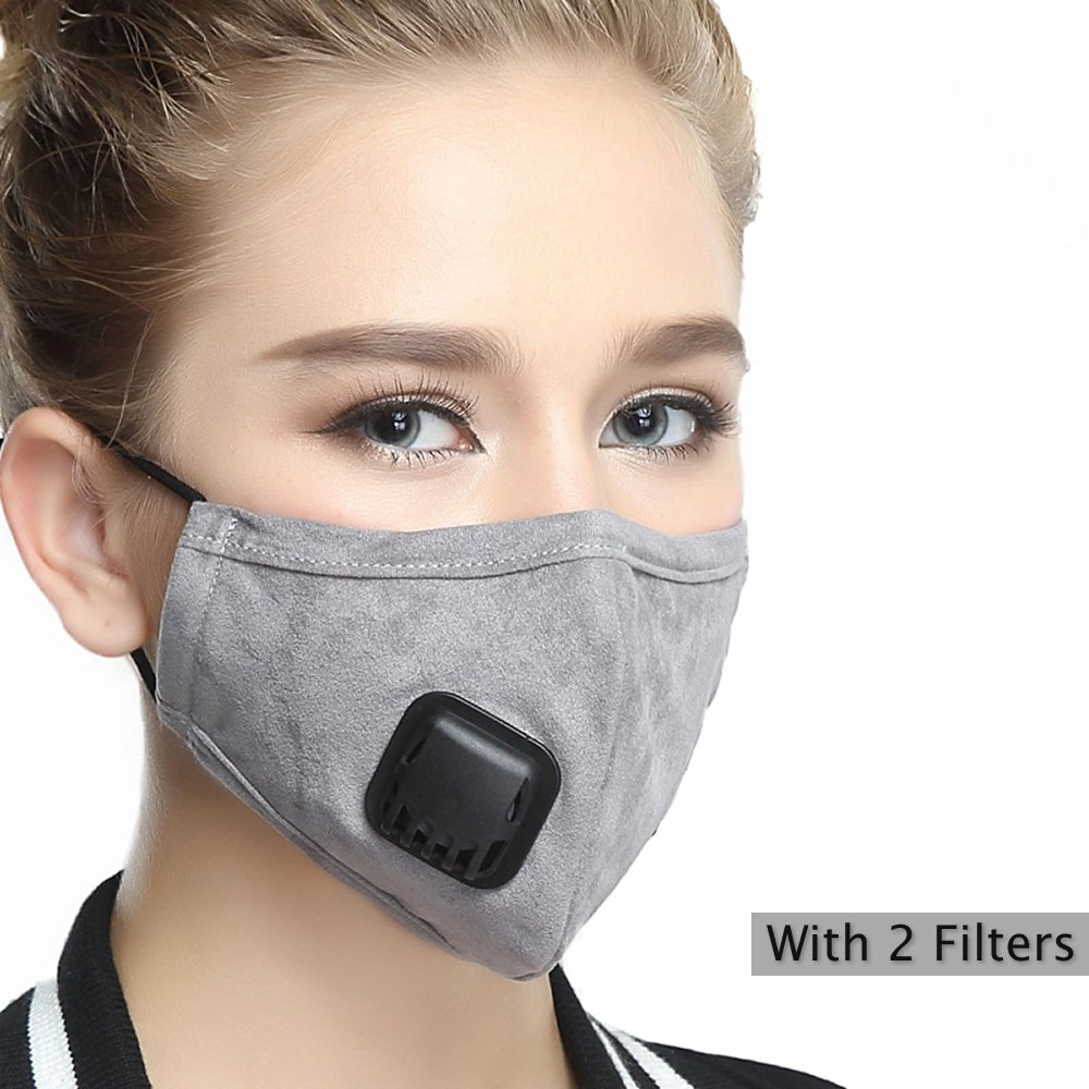 Mask Washable Cotton Mouth Masks with Valve Replaceable Filter (One Mask + 2 Filters) Activated Carbon Dustproof/Dust Mask - Pollen Allergy, PM2.5, Running, Cycling, Outdoor Activities - Women Grey by Servefox