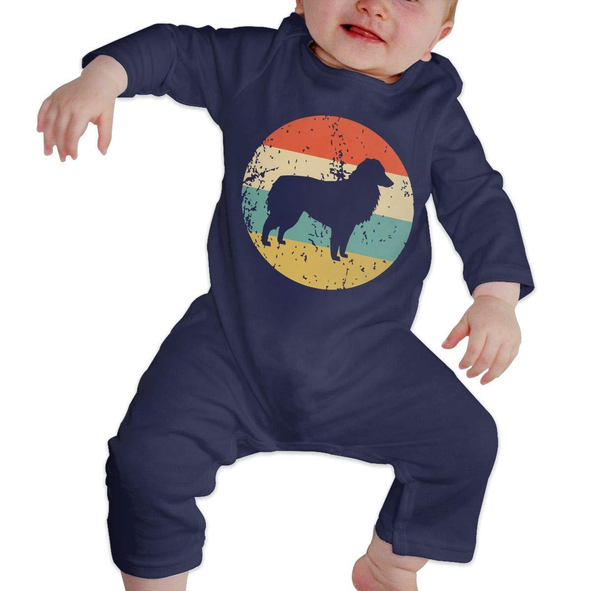Mri-le1 Toddler Baby Boy Girl Long Sleeved Coveralls Retro Australian Shepherd Baby Rompers