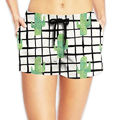 Langfujun Cactus Pattern Wonderfullly Casual Novelty Printed Swim Surf Board Shorts For Women With Pockets