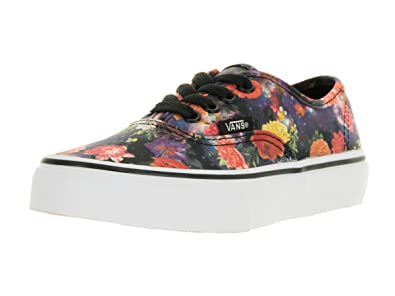 bb0ff52287 Vans Kids  Authentic Galaxy Floral Black and True White Canvas Skate Shoes  12