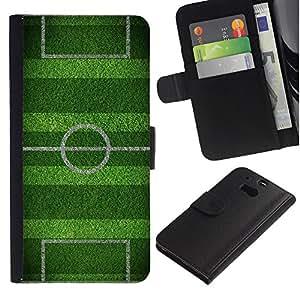 KingStore / Leather Etui en cuir / HTC One M8 / Campo de fútbol Meta juego Meta