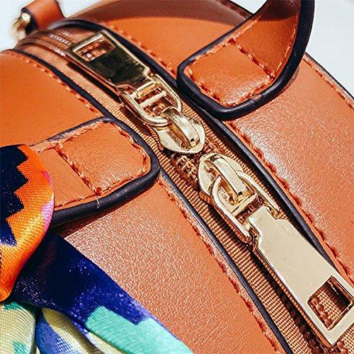 bolso para paja negro a Marrón bandolera bandolera redondo mano hecho tejido playa para mujer de la Bolso Gaeruite qzwt77