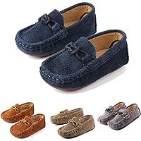 Mocasines para Niños Chicos Cuero de Gamuza Casual Zapatos Planos Moda Respirable Ligero Loafers