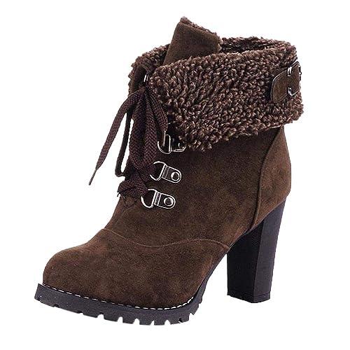timeless design 6ac11 3bc62 Ansenesna Stiefeletten Damen Schwarz Mit Absatz Leder Gefüttert Winter  Schuhe Frauen Blockabsatz Mode Zum Schnüren Boots