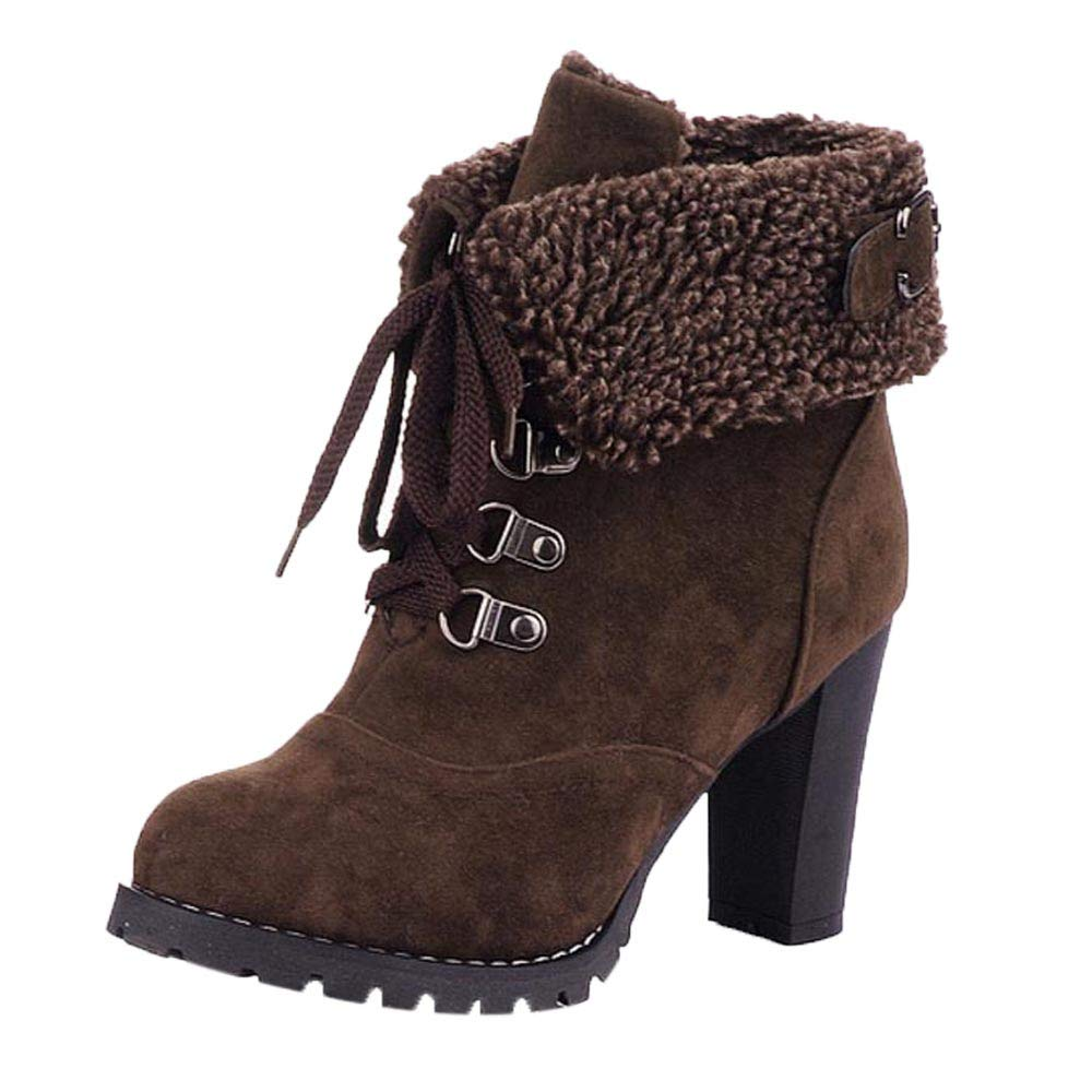 Bokeley Women Boots, Womens Fashion High Heel Lace Up Ankle Boots Lady Buckle Platform Shoes (US:5.5, Brown)