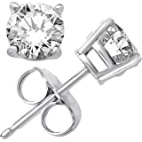 925 Solid Sterling Silver Basket Set Round Cz Stud Earrings in Different Sizes