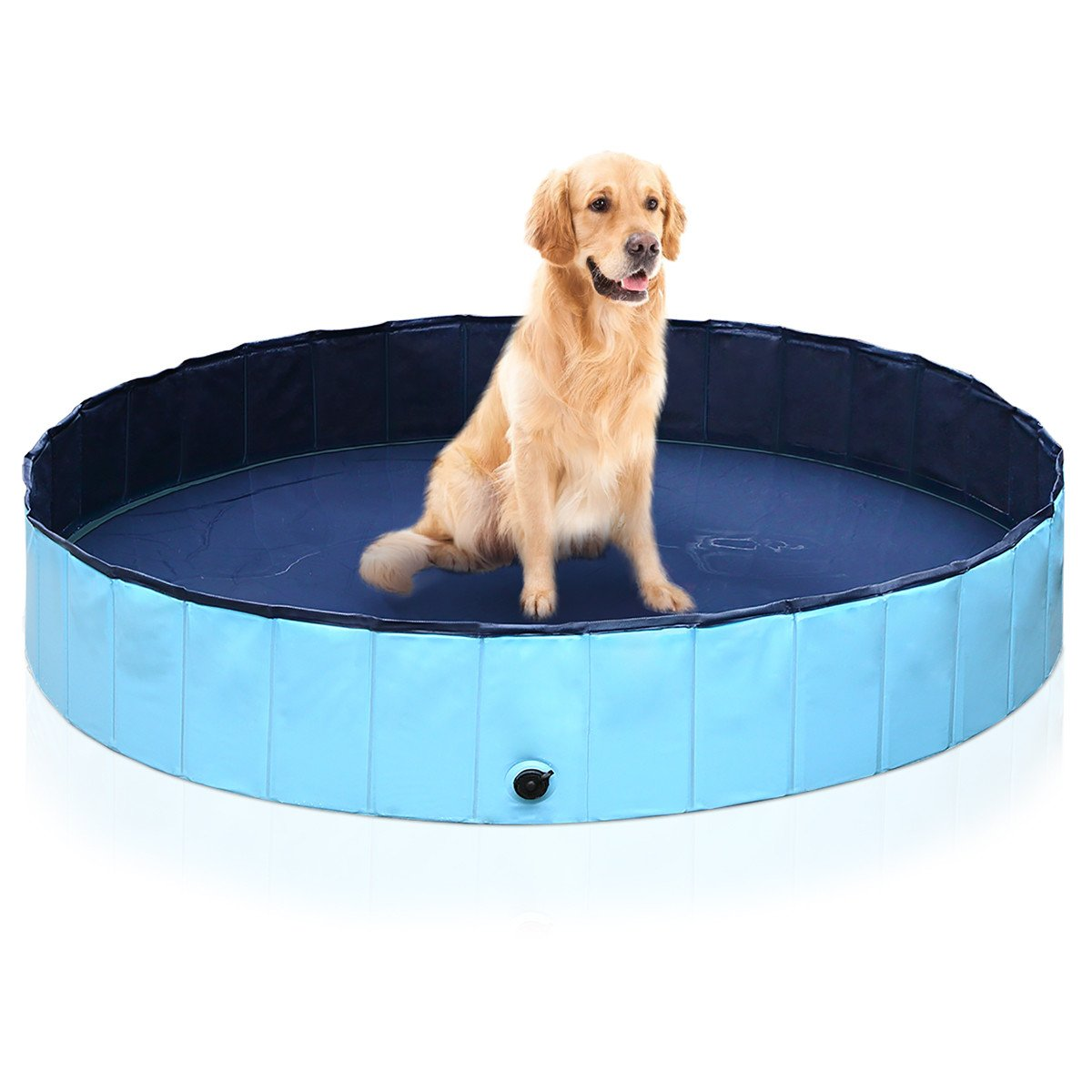 isYoung Dog Bath Pool Foldable PVC (48inch x 12inch, Blue)