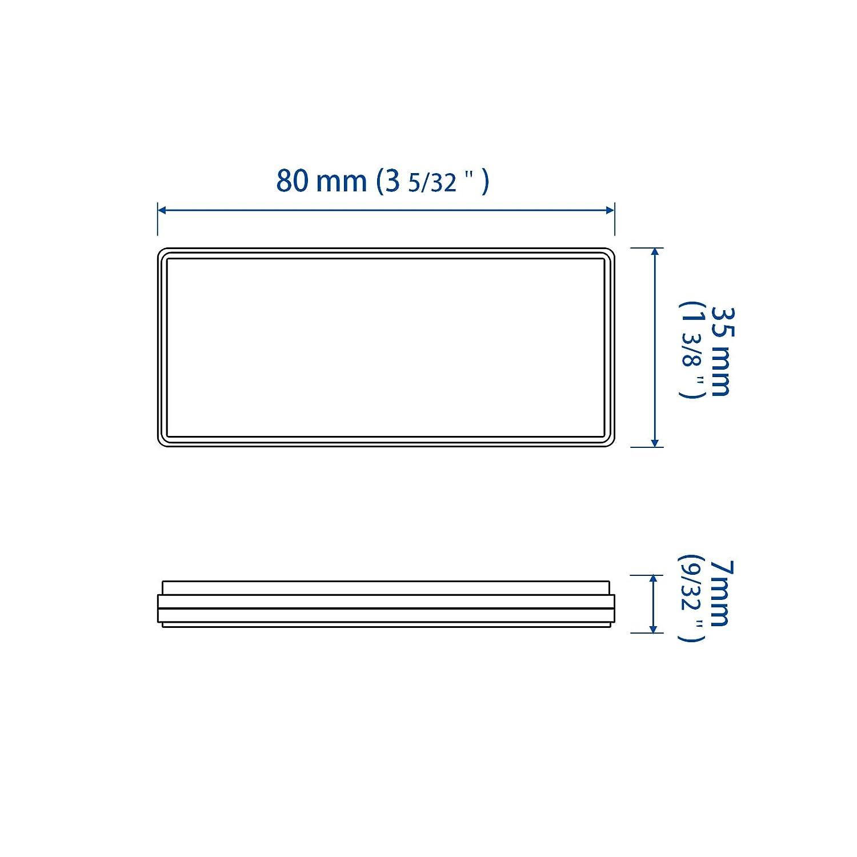MFC PRO 2Pcs Plastic Rectangular Stick-on Reflector Sticker White, 9444mm