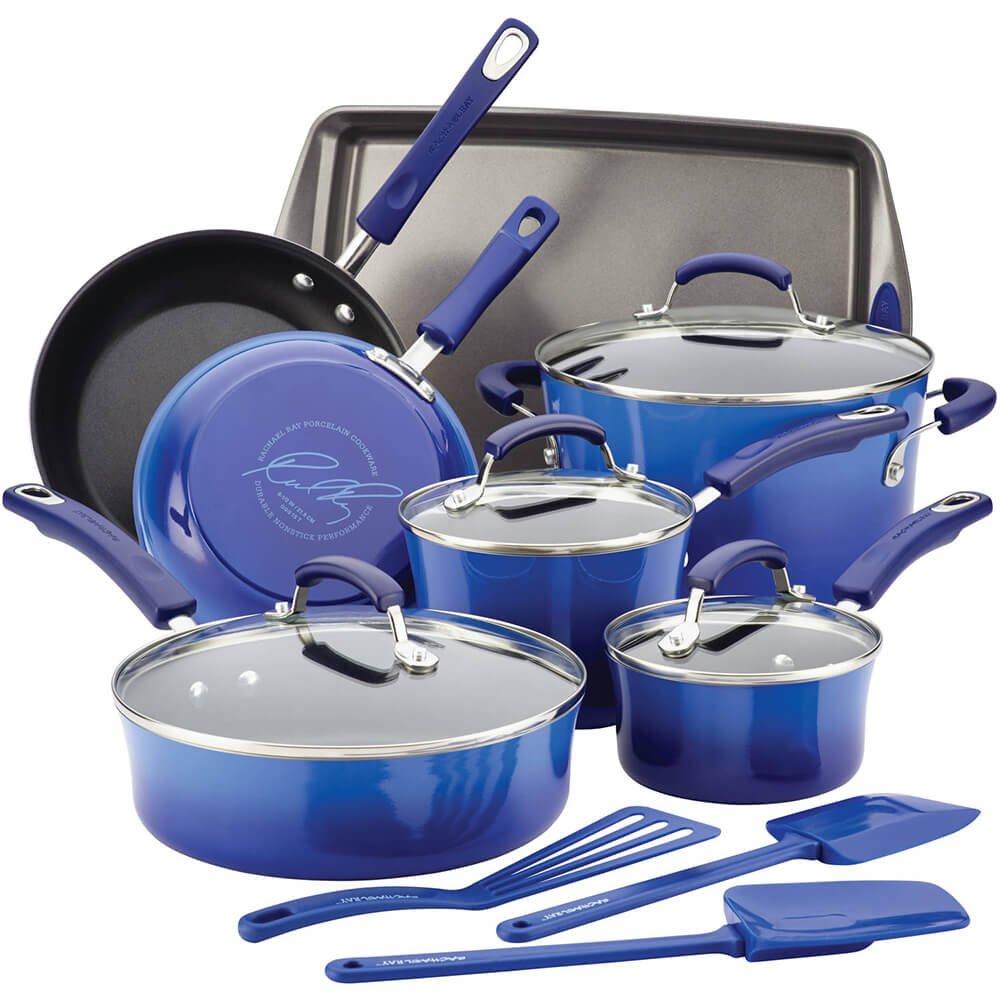 Rachael Ray 17463 14-Piece Aluminum Cookware Set, Blue Gradient