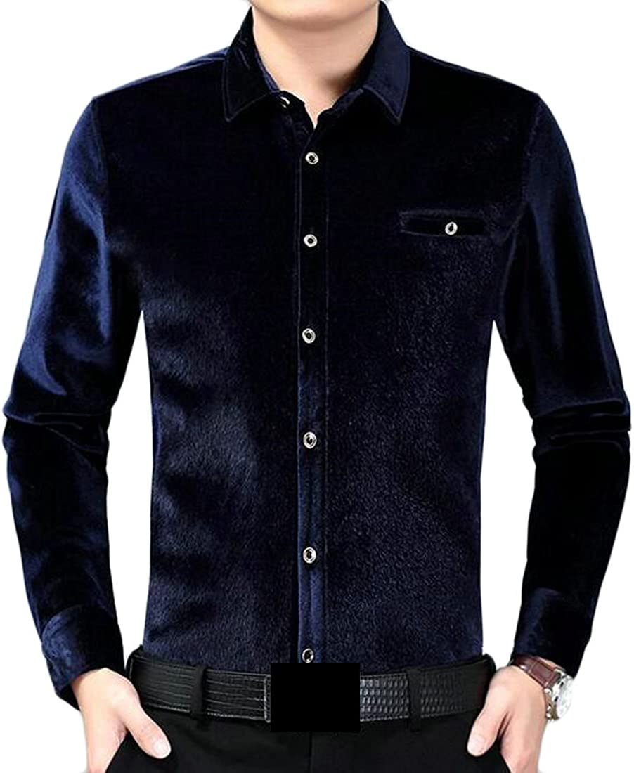 Fubotevic Men Contrast Single Pocket Cotton Linen Short Sleeve Button Up Shirt