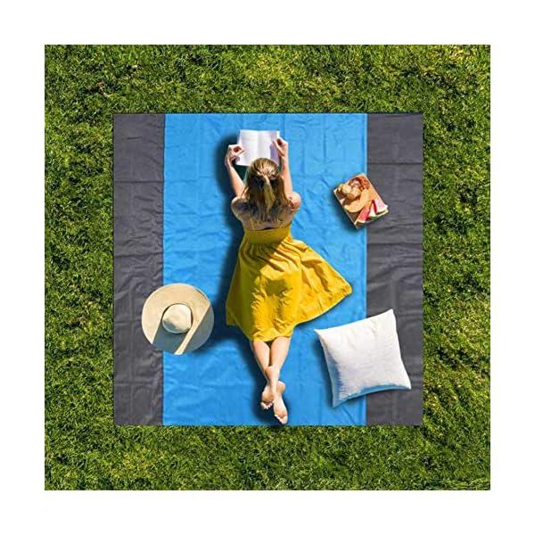 sokey Coperta da picnic, da spiaggia, impermeabile, senza sabbia, portatile, ultraleggera, 210 x 200 cm, con borsa e 4… 7 spesavip