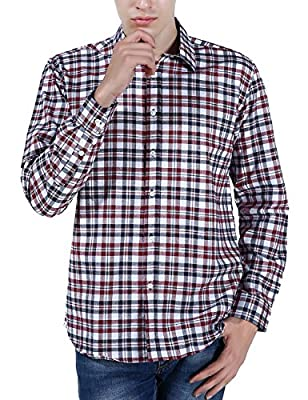 Xi Peng Men's Casual Dress Plaid Checkered Button Down Long Sleeve Oxford Shirts