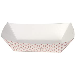 Dixie 2 Lb Polycoated Paper Food Tray by GP PRO (Georgia-Pacific), Kant Leek, Red Plaid, RP2008, 1,000 Count (250 Trays Per Pack, 4 Packs Per Case)