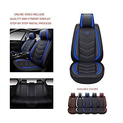 OASIS AUTO OS-003 Leather Car Seat Covers, Faux Leatherette Automotive Vehicle Cushion Cover for Cars SUV Small Truck Universal Fit Set Compatible with Toyota-Nissan-Honda-Jeep-Subaru (Black/Blue): Automotive