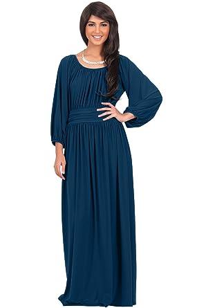 158511587ecf KOH KOH Petite Womens Long Sleeve Sleeves Vintage Peasant Empire Waist Fall  Loose Flowy Fall Winter
