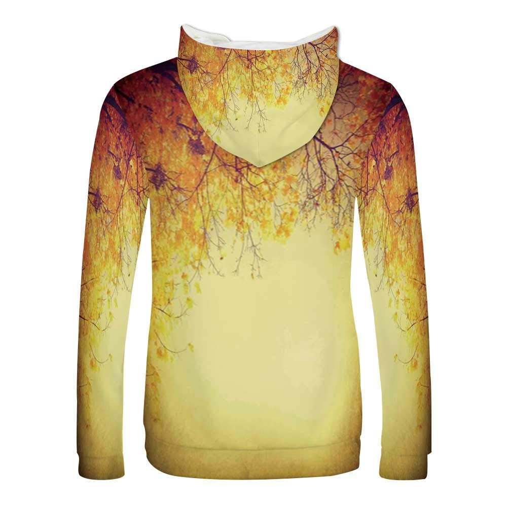 Leaves Sweatshirt,Majestic Mighty Oak Tree with Largely Broader Leaves Forest Sun Rays Nature Hooded for Men /& Boys,Small