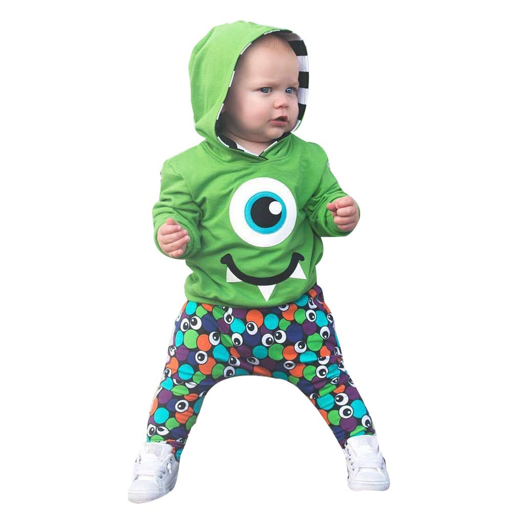 Longra/® Baby Coat Pants Outfits,Toddler Baby Kids Boy Cartoon Hoodie Sweatshirt Tops Pants Clothes Set for 0-4 Years